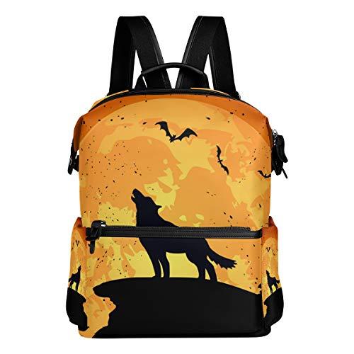TIZORAX Halloween-Hintergrund mit Wolf, Schulrucksack, College-Tasche, Tagesrucksack, Büchertaschen für Teenager, Jungen und Mädchen