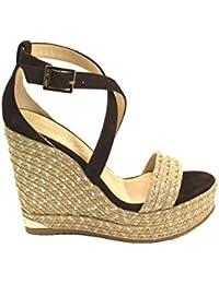 Jimmy Choo Mujer PORTIA120BROWN Marrón Cuero Zapatos De Cuña