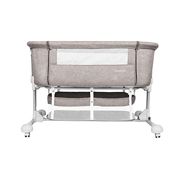 LYYJIAJU Baby Crib Portable Bassinet Bed Infant Kids Travel Playpen Multifunction Height Adjustable Pack Deluxe Beds Pocket Changer Cribs Bag & Caster LYYJIAJU Material: Aluminum alloy tube + cotton and linen (sturdy, environmentally friendly, no odor, no formaldehyde, no toxicity); applicable age: newborn - 2 years old Features: with mosquito net; large-capacity storage bag; foldable, free installation, easy to carry; universal wheel, with brake, silent; breathable mesh bed; seamless splicing bed size (length x width x height): 110X56X78CM; inner diameter: 100x50cm; height adjustable: 6 files (32-67cm) 1