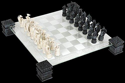 Nemesis Now Plateau d'échecs en verre avec figurines dragons
