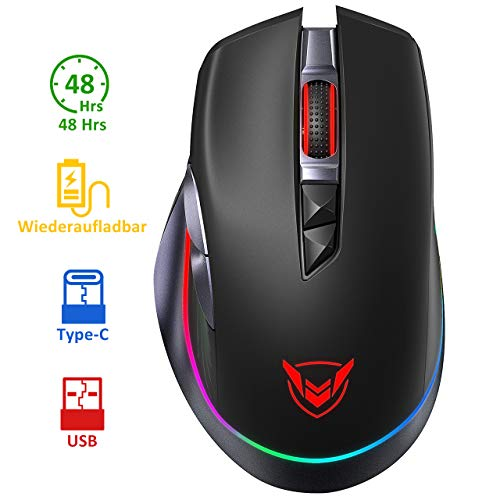 Holife Gaming Maus RGB, kabellos Maus USB mit Typ-C Aufladung Kabel, 10000 DPI/1000hz/8 programmierbaren Tasten/Feuer Tasten, Wired Mouse Pc mit Dual Mode, Laptop Gaming Mouse für pro Gamer (Schwarz)