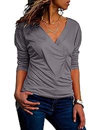 Asimétrico Manga Larga Escote Triangular en V Cruzado Ceñido Envolvente  Delantera Frunces Blusón Blusa Camisa T-Shirt… 8315b12e9609c