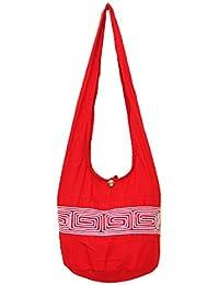 Thai Hippie Hobo Sling Crossbody Shoulder Bag Purse Handmade Zip Labyrinth Line Cotton Gypsy Boho Messenger Large...
