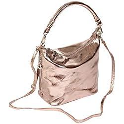 """BERNSTYN Damen Handtasche """"Lady Glamour"""" Echtes Rindleder Henkeltasche Schultertasche Umhängetasche champagner metallic"""