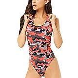 IZHH Bikini EIN Stück Push Up Printed Bikini Beach Badeanzug Monokini Badeanzug Badebekleidung Camouflage gedruckt Bikini einteiliger Badeanzug(Rot,Small)