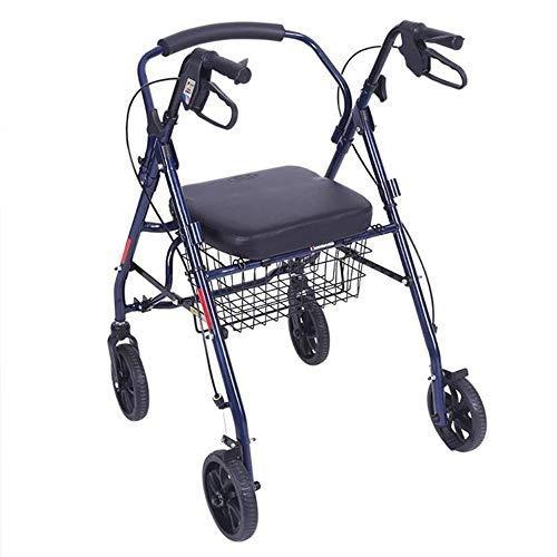 HLFBZ HL Leichter Faltbarer fahrbarer Walker Höhenverstellbar Einkaufswagen mit Sitzkorb Rotary 4 Räder Einkaufswagen-Tasche für ältere Menschen mit eingeschränkter Mobilität