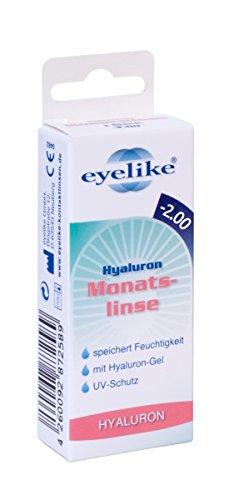 Eyelike Hyaluron Monatslinsen weich, 1 Stück/BC 8.6 mm/DIA 14.2 mm / -2 Dioptrien