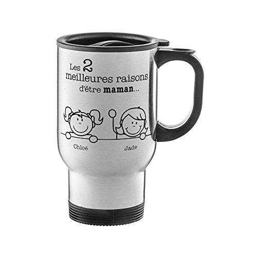 Tasse thermo en inox avec imprimé - Les meilleures raisons d'être maman - Personnalisée avec nom - Tasse thermo étanche avec couvercle et anse - Cadeau de fête des mères individuel