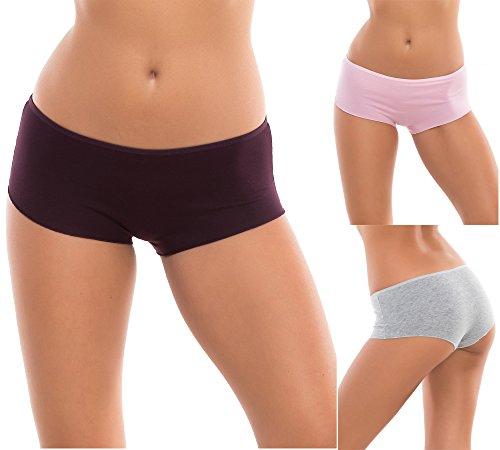 Evoni Damen-Slips aus Baumwolle | 3er-Set Brazilian Panties | Höschen 3 Höschen Rosa/Grau/Lila | Gr.L | Bequeme Unterhosen im Multipack | sexy Hipster-Panty für jeden Anlass