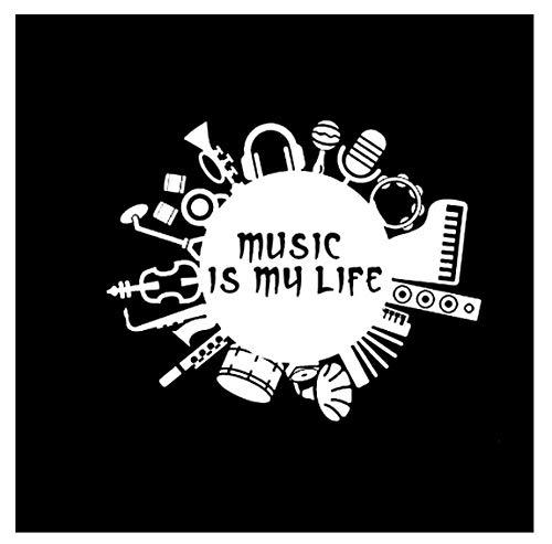 YOUYOUY 2Pcs Autoaufkleber Musik Ist Mein Leben Inschrift Gitarre Trommel Kontrabass Vinyl Silber Auto Aufkleber 15,8 cm * 12,6 cm