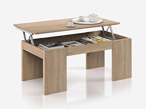 Hogar Decora Table Basse relevable, Couleur chêne Canadian, Dimensions : 100 x 50 x 43 cm de Hauteur