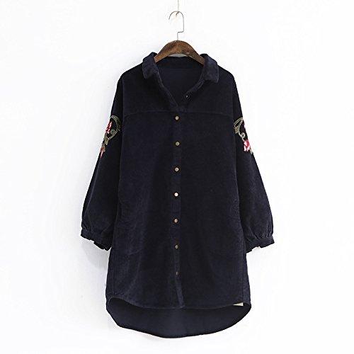 THWS Mäntel für Frauen Stickerei am Revers Farbe Cord Tasche langen Mantel Windbreaker, Marine, meinen Code