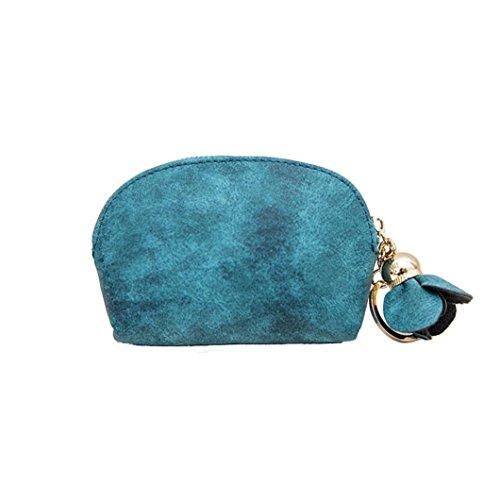 Malloom® Frauen Leder Kleine Mini Brieftasche Halter Zip Geldbörse Clutch Handtasche (grün) -
