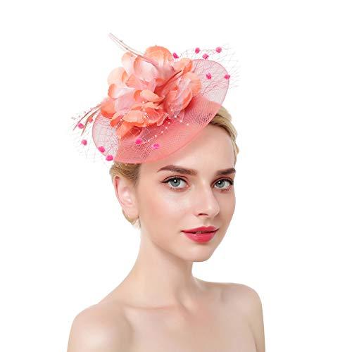 by Netting Mesh große blühende Blumen Feder Fascinator Hut Pompon Perlen Tea Party Hochzeit Braut Haarspange Kopfbedeckungen ()