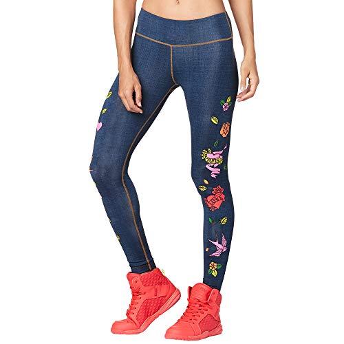 Zumba Damen Wide Waistband Dance Fitness Compression Print Leggings Hosen, Love Denim, Medium