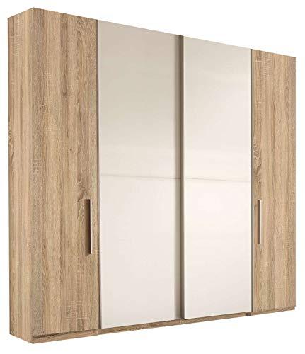 Avanti trendstore - ronco - armadio con 2 ante scorrevoli e 2 ante a battente in legno laminato di colore quercia sonoma/bianco. dimensioni: lap 205x195,5x60 cm