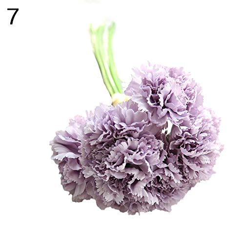 Gzzebo 1 bouquet 6 rami garofani artificiali fiori festa della mamma regalo casa giardino ufficio nozze decorazioni per feste photo puntelli viola chiaro