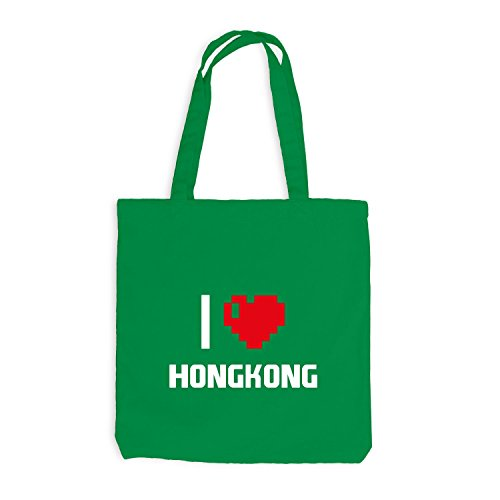 Jutebeutel - I Love Hongkong - China Reisen Herz Heart Pixel Kellygrün