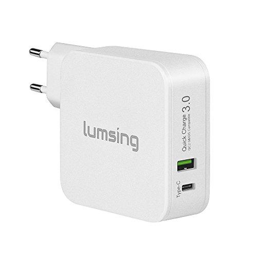 Lumsing  Dual Port Quick Charge 3.0 und Typ-C Wandladegerät für Apple Macbook, Google Nexus 6P, HTC 10, Galaxz S7, LG G5 und andere Geräte(Weiß)