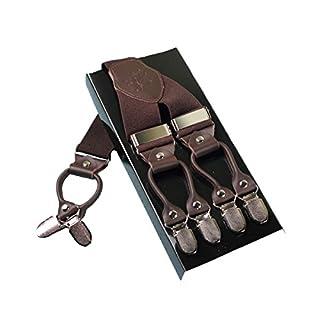 Heavy Duty Men Braces KANGDAI 6 Buckles Y Zurück 10 Farben Durable Elastic Verstellbare Hosenträger Starke Metall Clips (Braun)