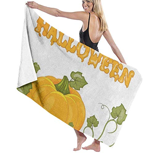 xcvgcxcvasda Serviette de bain, Happy Halloween Pumpkin Leaf Personalized Custom Women Men Quick Dry Lightweight Beach & Bath Blanket Great for Beach Trips, Pool, Swimming and Camping 31