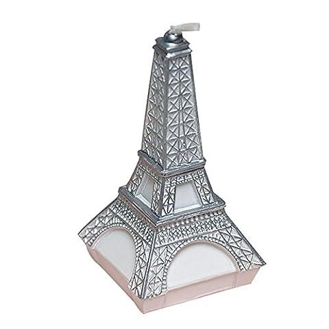 Bougie d'anniversaire de bande dessinée en forme de tour Eiffel, bougie de mariage, bougie sans gâteau pour fête, cadeau de charme, baby shower et mariage (argent)