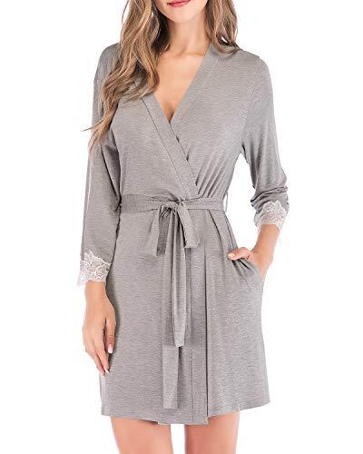 Modal Schlafen Kurz (Dramaticbuying Damen-Bademantel aus Baumwolle, leicht, kurze Kimono-Spitze, Dekor Bademantel Nachtwäsche - Grau - Etikettengröße XX-Large=US Größe X-Large)