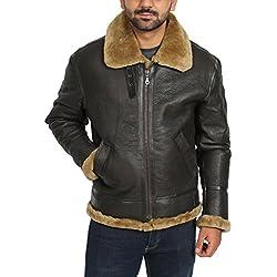 House Of Leather Chaqueta de Cuero de Vuelo de Piel de Oveja Real Irvin B3 Piloto Aviador Jengibre Shearling (X-Large)