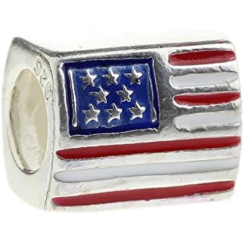 Fede in argento Sterling 925, con bandiera americana indietro di luglio-Ciondolo Charm per bracciale europea