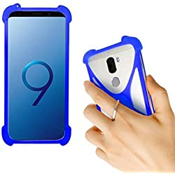 Lankashi Bleu Silicone Case Etui Ring Stand Souple Housse Coque Cover pour SFR Altice S40 S10 STARTRAIL 9 7 4 STARXTREM 6 5 / Orange Dive 73 70 Rise 54 51 31 / Echo Star Plus Plum Universel
