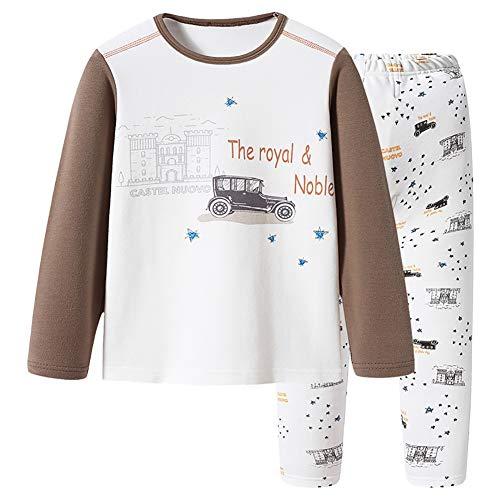 Jungen Schlafanzug Set Zweiteiliger Pajamas Sleepwear Kinder Bekleidung Braun 9 bis 10 Jahre alt