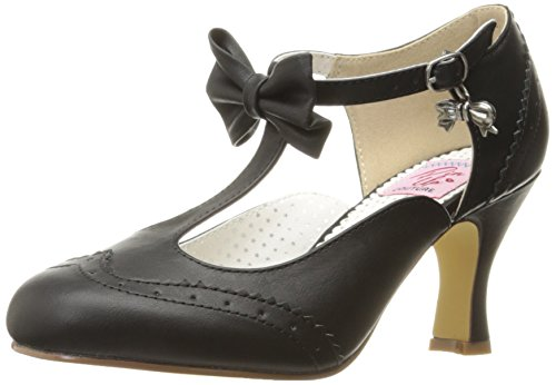 Pinup Couture Damen FLAPPER-11 Pumps, Schwarz (Blk Faux Leather), 41 EU - Faux-leder-riemchen-ferse