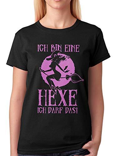 vanVerden Damen Unisex T-Shirt Ich Bin eine Hexe ich darf Das! Halloween Shirt, Größe:XL, Farbe:Schwarz/Pink