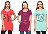 #8: CUPID Women Long TOP & TEES/Night / Yoga/Gym Wear T-Shirt/Ladies Top 3 Pc Combo Offer Pack (Orange/Purple / SEA Green)