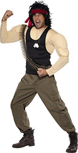 Smiffys, Herren Rambo Kostüm, Muskel-Oberteil, Hose, Perücke, Stirnband, Patronengürtel und Kette, Größe: M, (Rambo Einfach Kostüm)