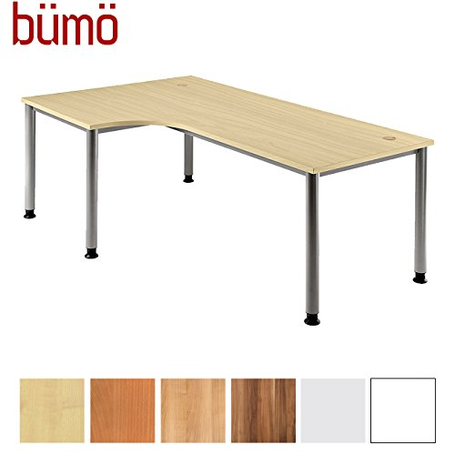 Bümö® Eckschreibtisch höhenverstellbar   Bürotisch in 6 Farben & 8 Größen verfügbar   Büroschreibtisch (Ahorn, L-Form: 200x120 cm)