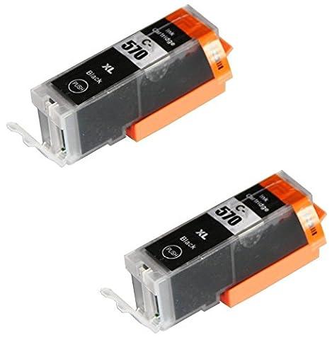 2 BLACK Compatible Printer Ink Cartridges for Canon Pixma MG5750, MG5751, MG5752, MG5753, MG6850, MG6851, MG6852, MG6853, MG7750, MG7751, MG7752, MG7753, TS5050, TS5051, TS5053, TS5055, TS6050, TS6051, TS6052, TS8050, TS8051, TS8052, TS8053, TS9050, TS9055 / PGI-570PGBK