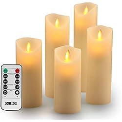 Bougies LED,Bougies Sans Flamme.Lot de 5 (10,12,15,17,19 cm,Ivoire),En Véritable Cire. Avec Vacillement des Flammes Très Réaliste, Télécommande Avec 10 Menus De Fonction, Minuterie de 24 Heures