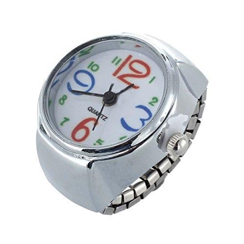 SODIAL(R) Ring Uhr Ringuhr Fingeruhr Damenuhr rund silberfarbe Quarzwerk Legierung HOT