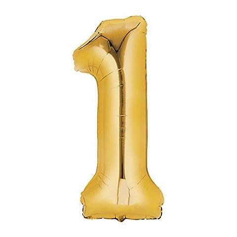 Folienballon - Zahl 1 - Gold, Luftballon zum Geburtstag +