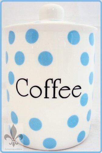 Bleu Clair Pois-Pot à café-Porcelaine Fine-Bleu-Boîte de rangement pour café dans les U. K.-gratuite