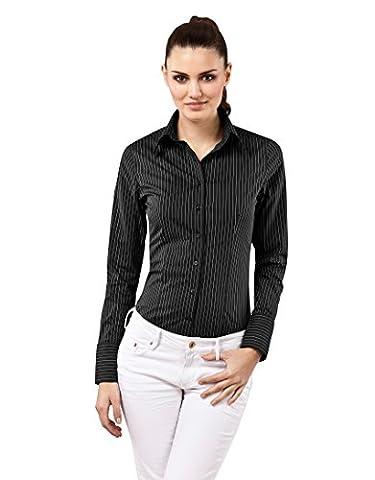 Vincenzo Boretti Blouse, slim-fit, striped - easy iron,black/white,10