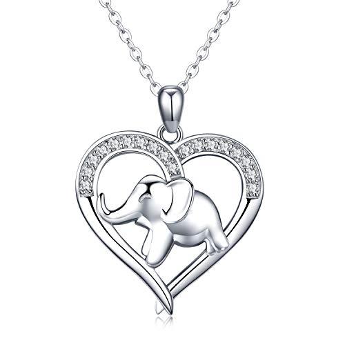 Kette Elefant Halskette mit Herz Anhänger Glücksbringer Damen Schmuck 925 Echt Sterling Silber Ketten anhänger Geschenk