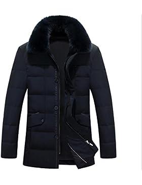 MHGAO Chaqueta larga de ocio Espesados ??abajo de la solapa de los hombres de la chaqueta abajo , black , xxxxl