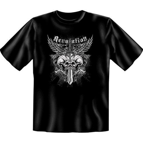 Totenkopf Schwert Flügel Adler: Revolution (Größe: XXL) T-Shirt (Herren-t-shirt Dolch)