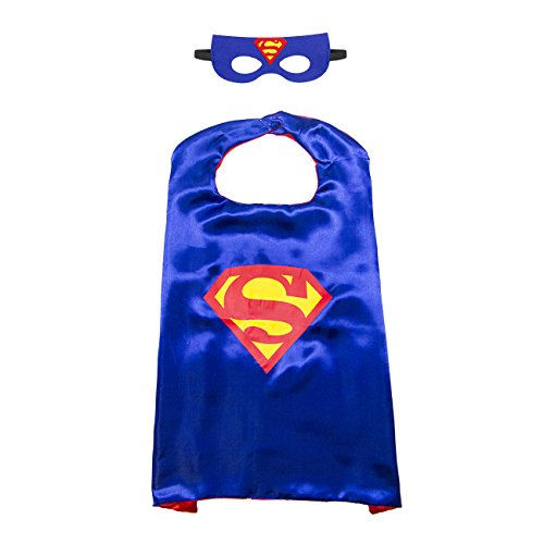 Superman Superheld Kostüm, Maske, Kap, Satin für Jungen (Batgirl Socken)