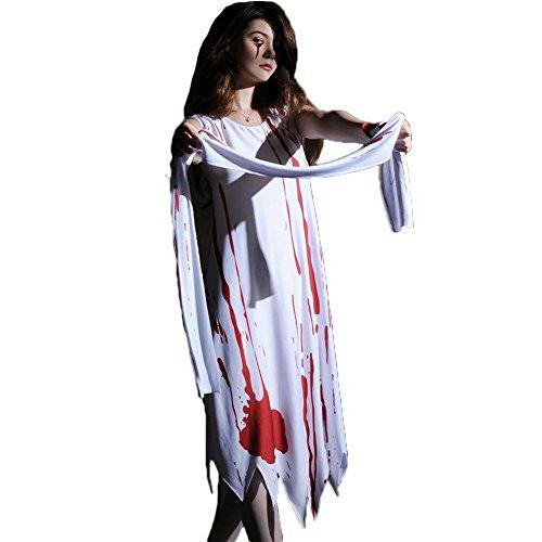 Fxwj Halloween Kostüm Blut Krankenschwester Frauen Fancy Dress Zombie Alley Erwachsene Cosplay Dessous Babydoll mit Schal Plus Size