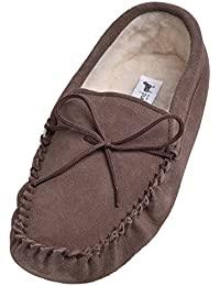 Lambland Mens / Womens Genuine Suede Sheepskin Moccasins Slippers with Soft Suede Sole