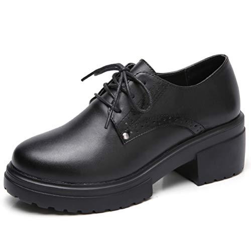 Frauen Plattform Keilschuhe Herbst SchnüRen Creepers Sneakers Quadratische Ferse Plattform LäSsige Pumps Schuhe