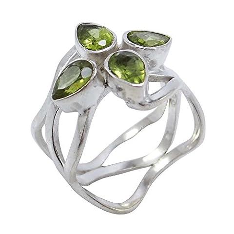 Banithani 925 Sterling Silver Peridot Stone Indian Women New Fashion Ring Jewellery